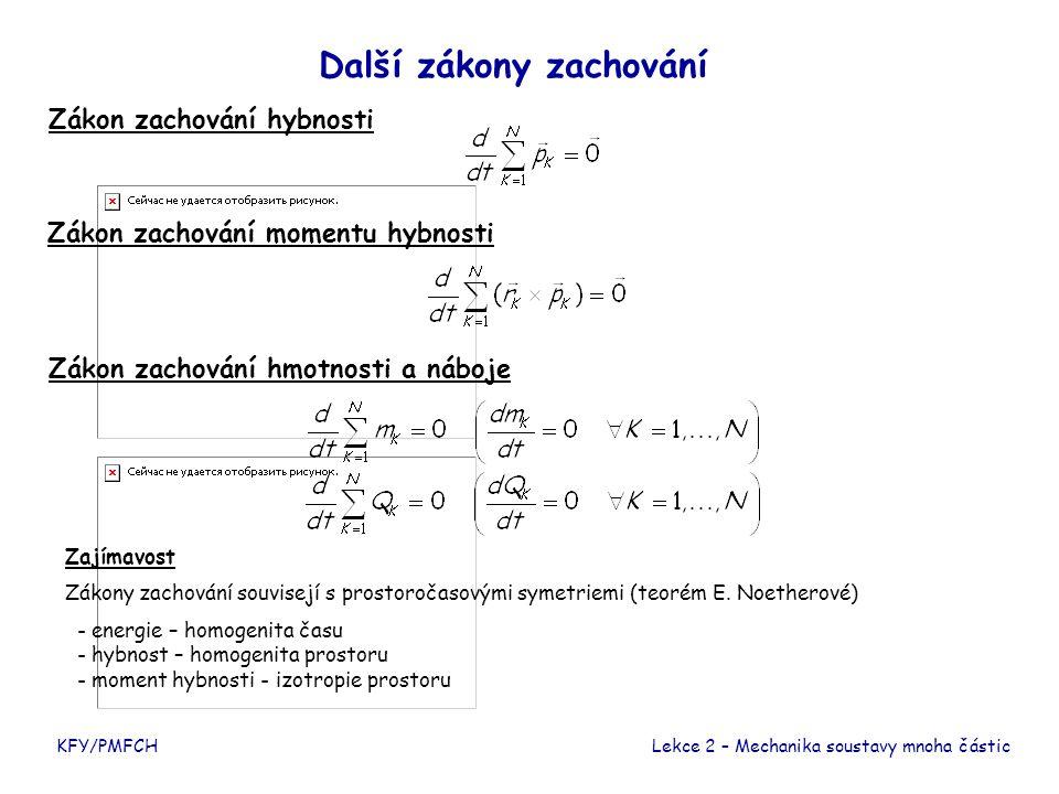 Další zákony zachování Zákon zachování momentu hybnosti Zákon zachování hmotnosti a náboje Zákon zachování hybnosti Zajímavost Zákony zachování souvisejí s prostoročasovými symetriemi (teorém E.