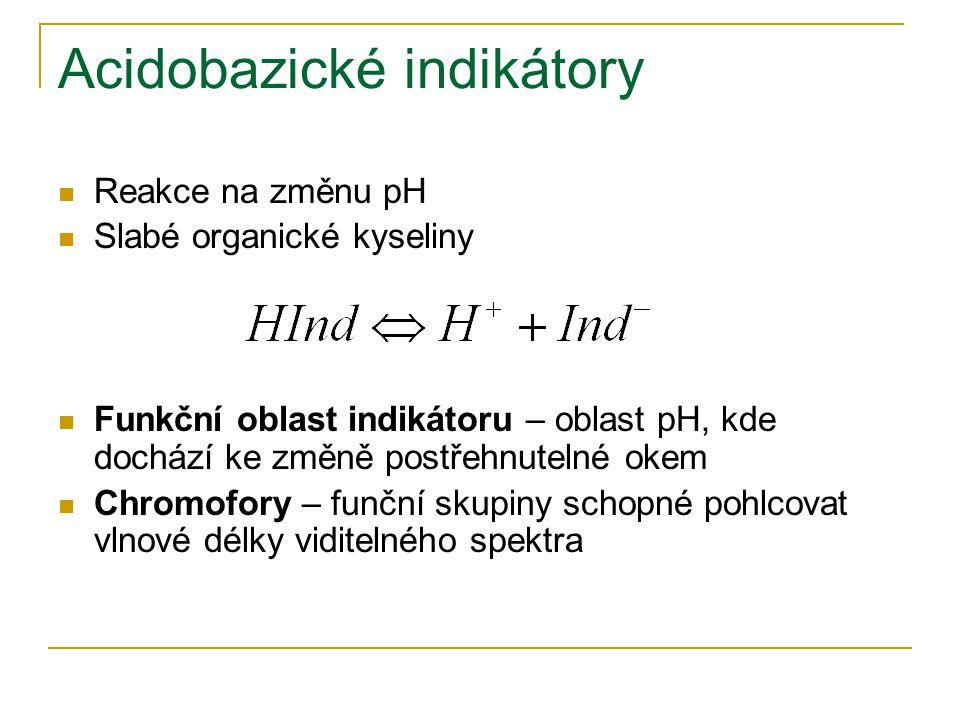Acidobazické indikátory Reakce na změnu pH Slabé organické kyseliny Funkční oblast indikátoru – oblast pH, kde dochází ke změně postřehnutelné okem Ch