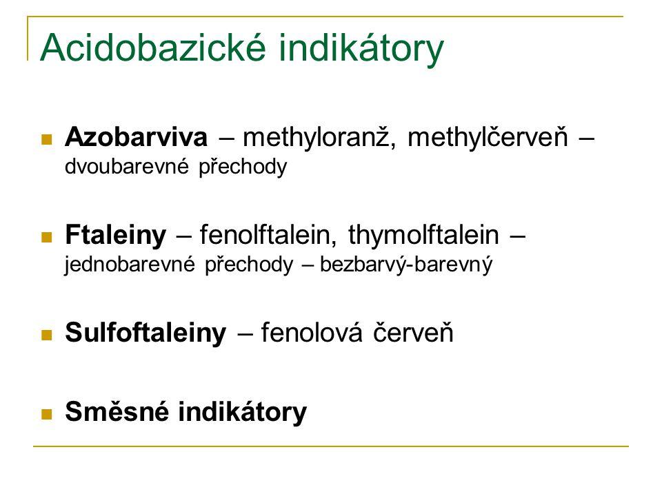 Acidobazické indikátory Azobarviva – methyloranž, methylčerveň – dvoubarevné přechody Ftaleiny – fenolftalein, thymolftalein – jednobarevné přechody –