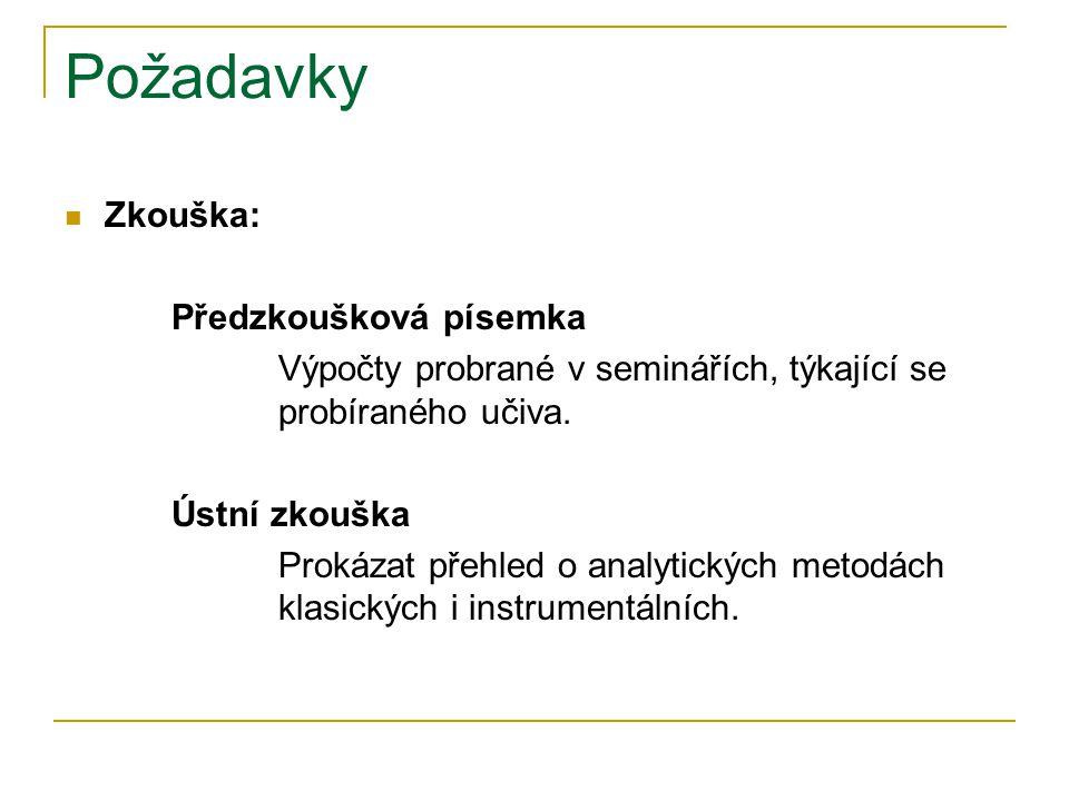 Požadavky Zkouška: Předzkoušková písemka Výpočty probrané v seminářích, týkající se probíraného učiva. Ústní zkouška Prokázat přehled o analytických m