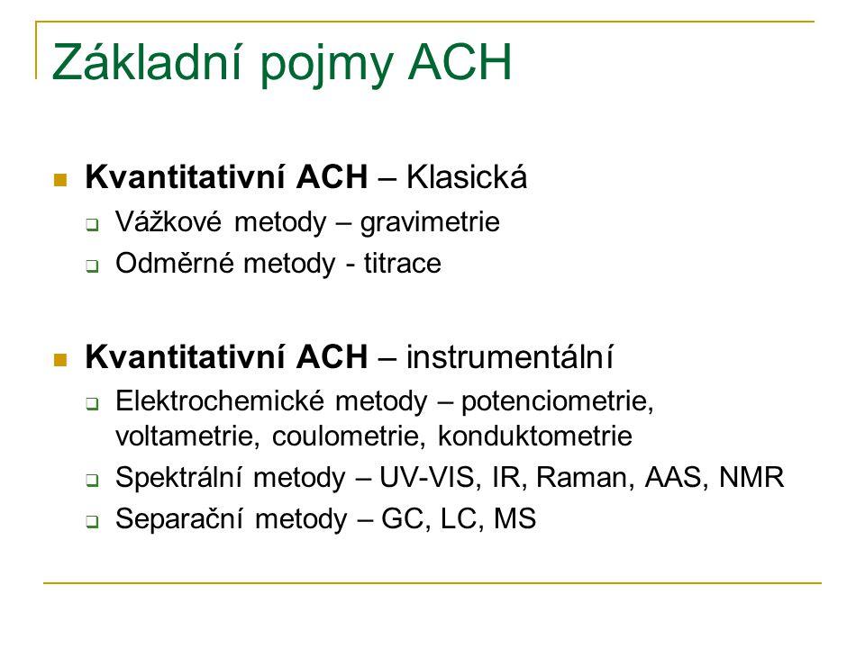Základní pojmy ACH Kvantitativní ACH – Klasická  Vážkové metody – gravimetrie  Odměrné metody - titrace Kvantitativní ACH – instrumentální  Elektro