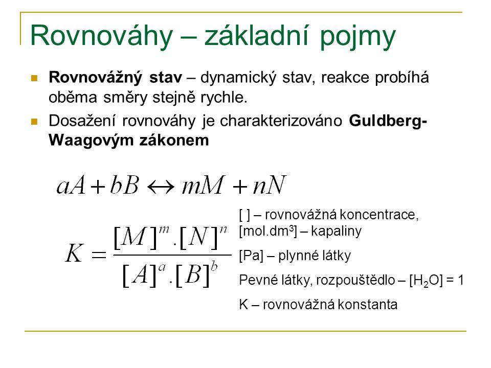 Rovnováhy – základní pojmy Rovnovážný stav – dynamický stav, reakce probíhá oběma směry stejně rychle. Dosažení rovnováhy je charakterizováno Guldberg