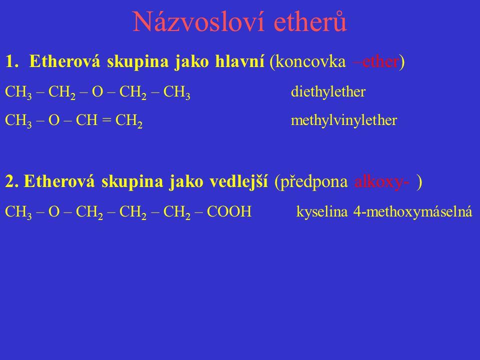 Názvosloví etherů 1.Etherová skupina jako hlavní (koncovka –ether) CH 3 – CH 2 – O – CH 2 – CH 3 diethylether CH 3 – O – CH = CH 2 methylvinylether 2.