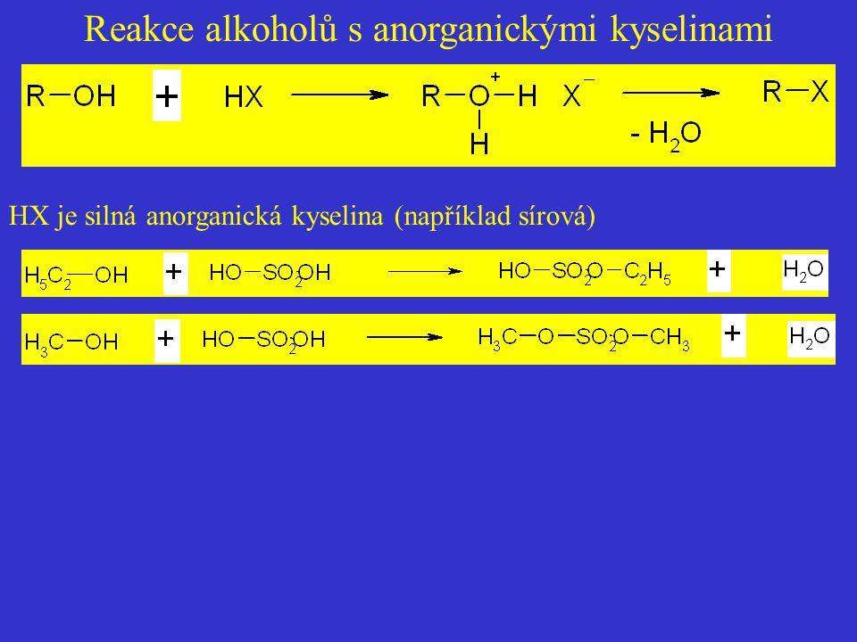 Reakce alkoholů s anorganickými kyselinami HX je silná anorganická kyselina (například sírová)