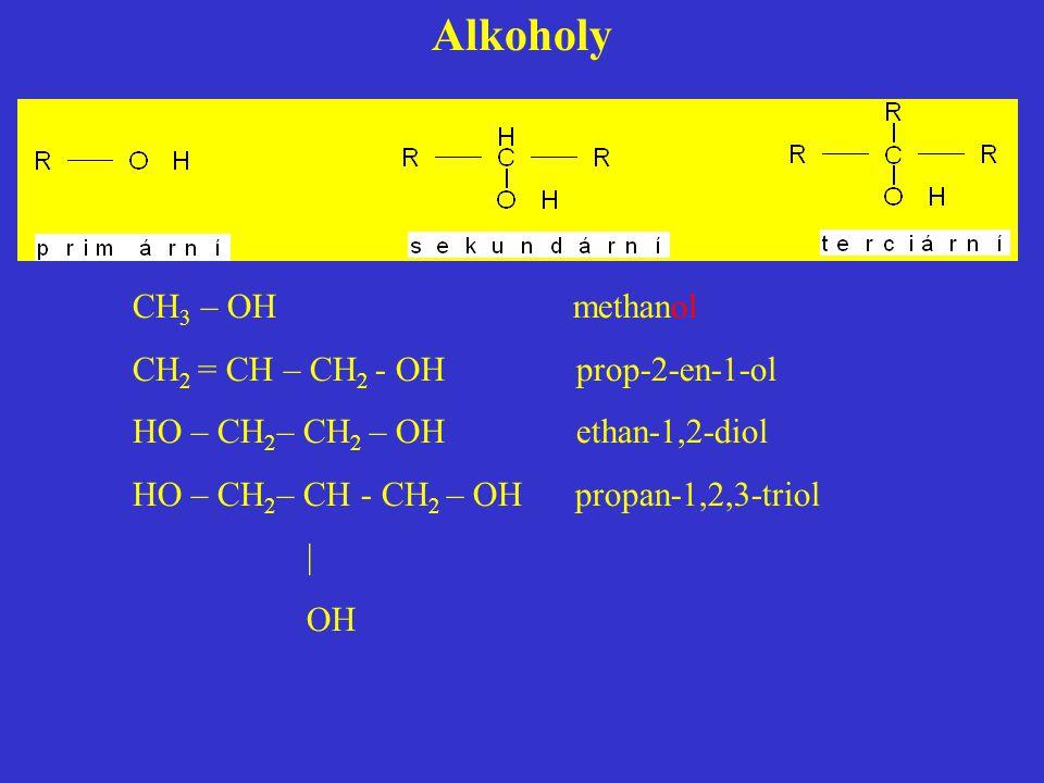 Alkoholy CH 3 – OH methanol CH 2 = CH – CH 2 - OH prop-2-en-1-ol HO – CH 2 – CH 2 – OH ethan-1,2-diol HO – CH 2 – CH - CH 2 – OH propan-1,2,3-triol |