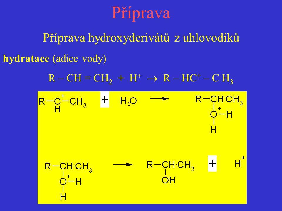 Příprava Příprava hydroxyderivátů z uhlovodíků hydratace (adice vody) R – CH = CH 2 + H +  R – HC + – C H 3