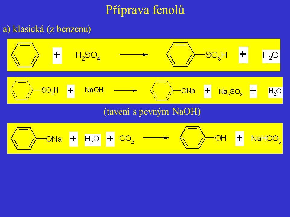 Příprava fenolů a) klasická (z benzenu) (tavení s pevným NaOH)