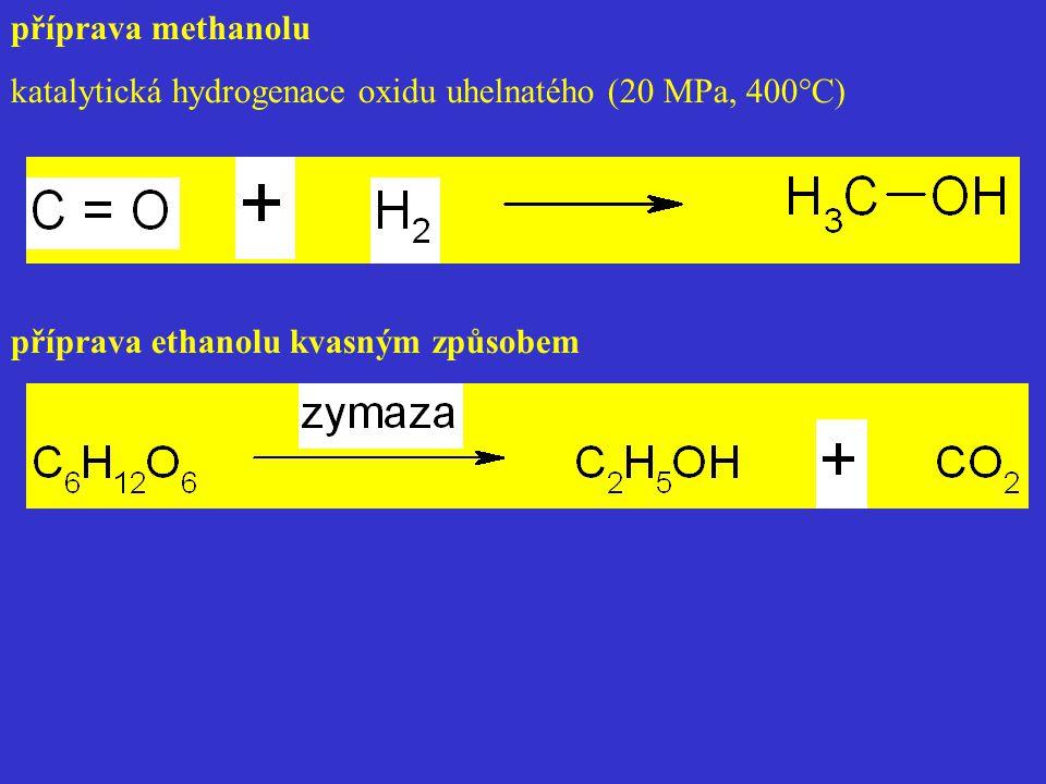 příprava methanolu katalytická hydrogenace oxidu uhelnatého (20 MPa, 400°C) příprava ethanolu kvasným způsobem