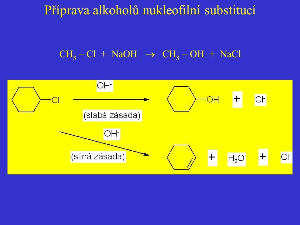 Příprava alkoholů nukleofilní substitucí CH 3 – Cl + NaOH  CH 3 – OH + NaCl