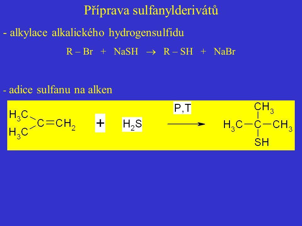 Příprava sulfanylderivátů - alkylace alkalického hydrogensulfidu R – Br + NaSH  R – SH + NaBr - adice sulfanu na alken