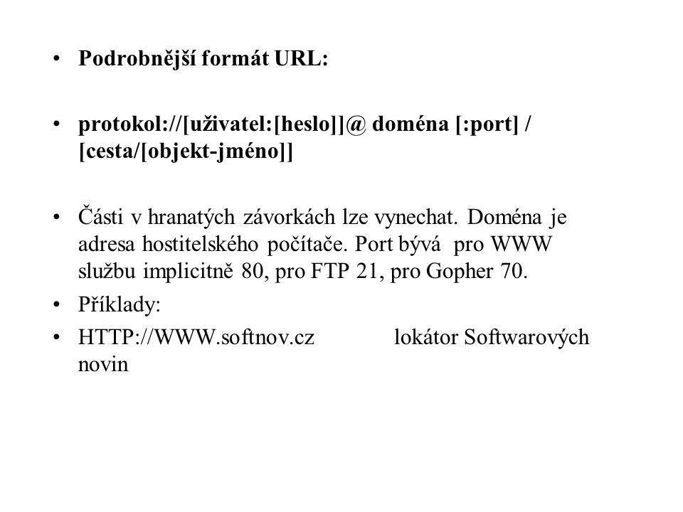 Podrobnější formát URL: protokol://[uživatel:[heslo]]@ doména [:port] / [cesta/[objekt-jméno]] Části v hranatých závorkách lze vynechat.