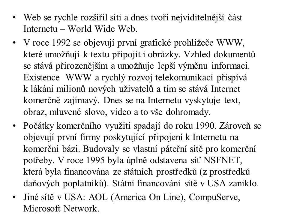 Hledání na WWW (též 3W) Pro hledání informací v Internetu existují vyhledávací programy (spiders, worms, robots).