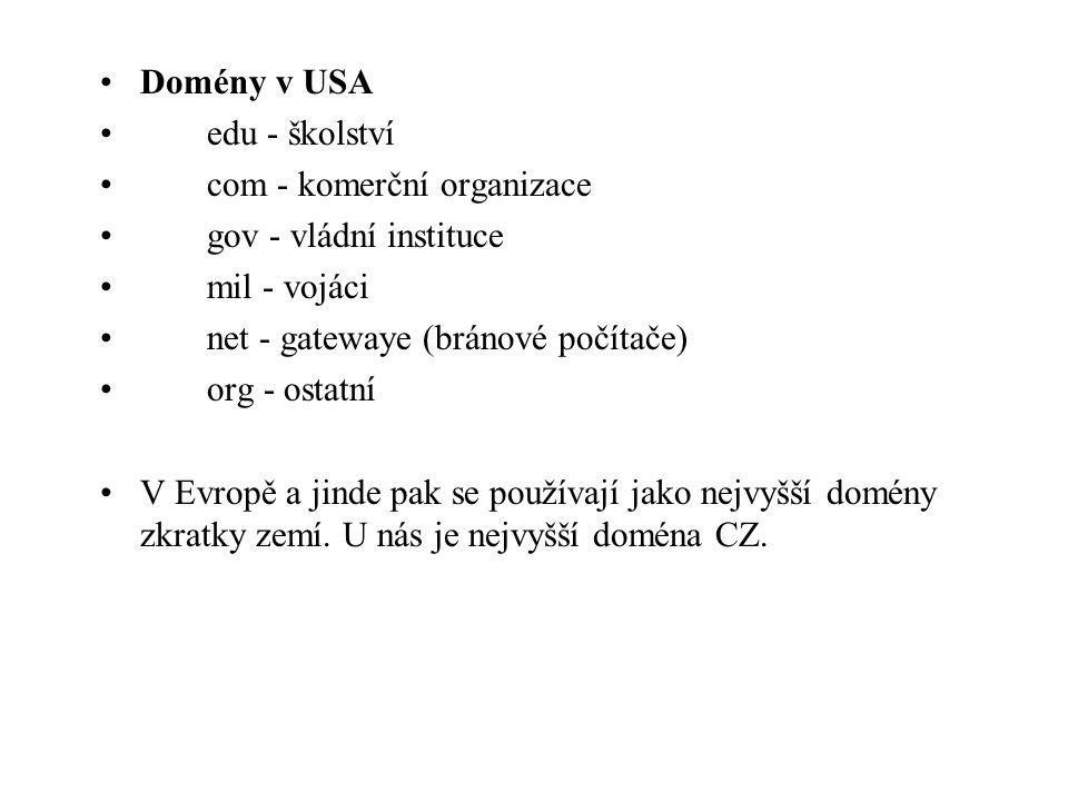 Domény v USA edu - školství com - komerční organizace gov - vládní instituce mil - vojáci net - gatewaye (bránové počítače) org - ostatní V Evropě a jinde pak se používají jako nejvyšší domény zkratky zemí.