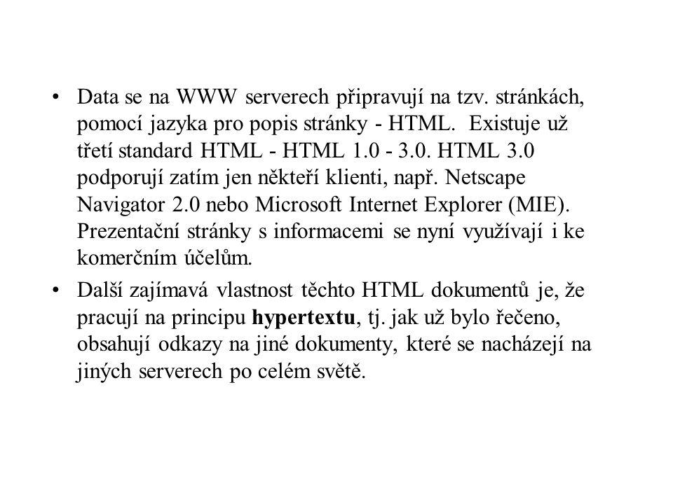 Data se na WWW serverech připravují na tzv. stránkách, pomocí jazyka pro popis stránky - HTML.
