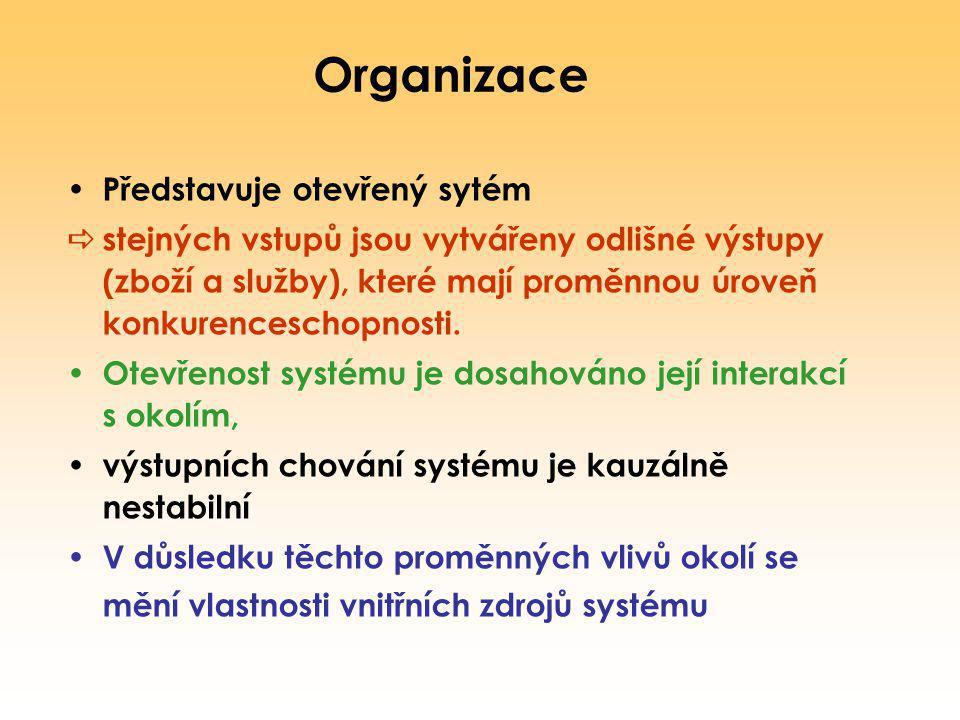 Organizace Představuje otevřený sytém  stejných vstupů jsou vytvářeny odlišné výstupy (zboží a služby), které mají proměnnou úroveň konkurenceschopno