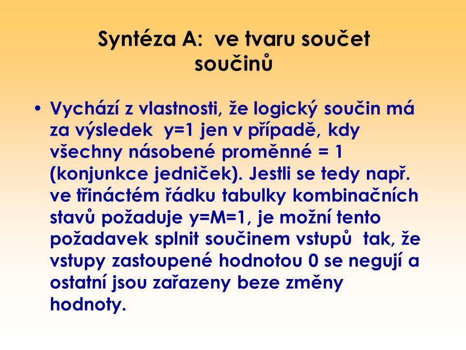 Syntéza A: ve tvaru součet součinů Vychází z vlastnosti, že logický součin má za výsledek y=1 jen v případě, kdy všechny násobené proměnné = 1 (konjun