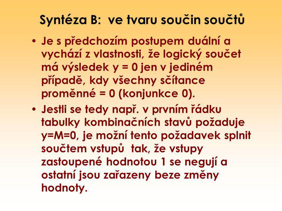 Syntéza B: ve tvaru součin součtů Je s předchozím postupem duální a vychází z vlastnosti, že logický součet má výsledek y = 0 jen v jediném případě, k