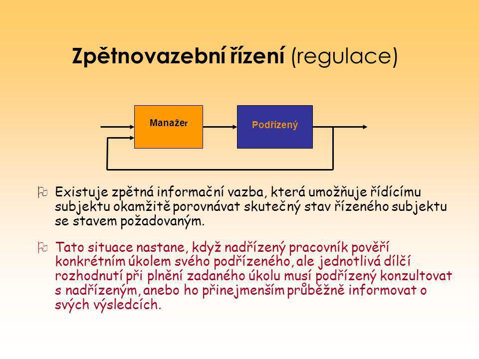 Zpětnovazební řízení (regulace)  Existuje zpětná informační vazba, která umožňuje řídícímu subjektu okamžitě porovnávat skutečný stav řízeného subjek