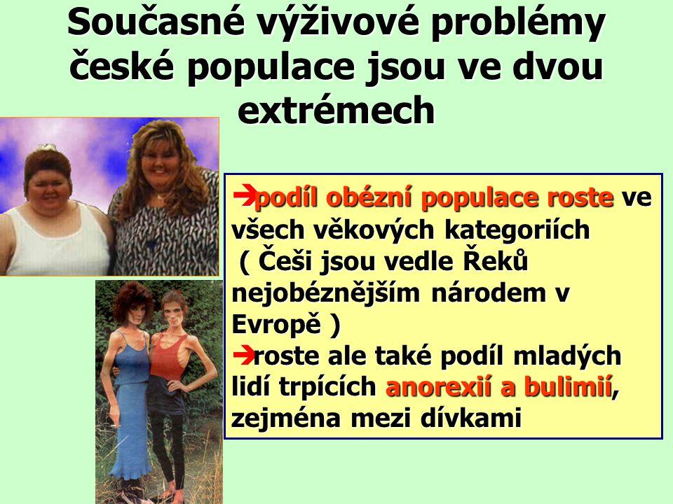 Současné výživové problémy české populace jsou ve dvou extrémech  podíl obézní populace roste ve všech věkových kategoriích ( Češi jsou vedle Řeků nejobéznějším národem v Evropě ) ( Češi jsou vedle Řeků nejobéznějším národem v Evropě ) roste ale také podíl mladých lidí trpících anorexií a bulimií, zejména mezi dívkami è roste ale také podíl mladých lidí trpících anorexií a bulimií, zejména mezi dívkami
