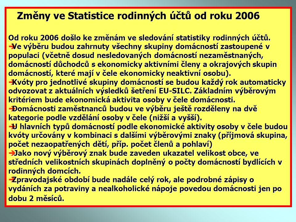 Změny ve Statistice rodinných účtů od roku 2006 Změny ve Statistice rodinných účtů od roku 2006 Od roku 2006 došlo ke změnám ve sledování statistiky rodinných účtů.