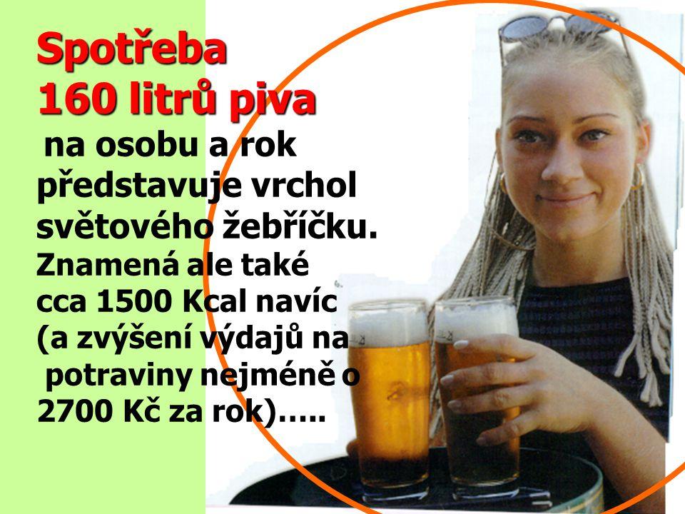 Spotřeba 160 litrů piva na osobu a rok představuje vrchol světového žebříčku.