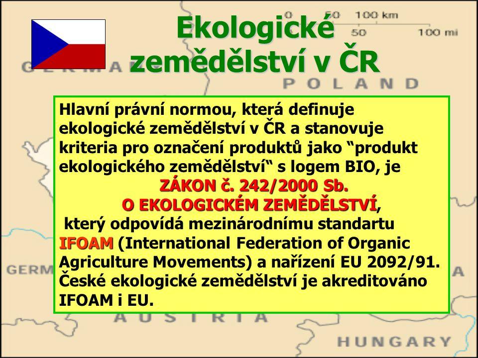 Ekologické zemědělství v ČR Hlavní právní normou, která definuje ekologické zemědělství v ČR a stanovuje kriteria pro označení produktů jako produkt ekologického zemědělství s logem BIO, je ZÁKON č.