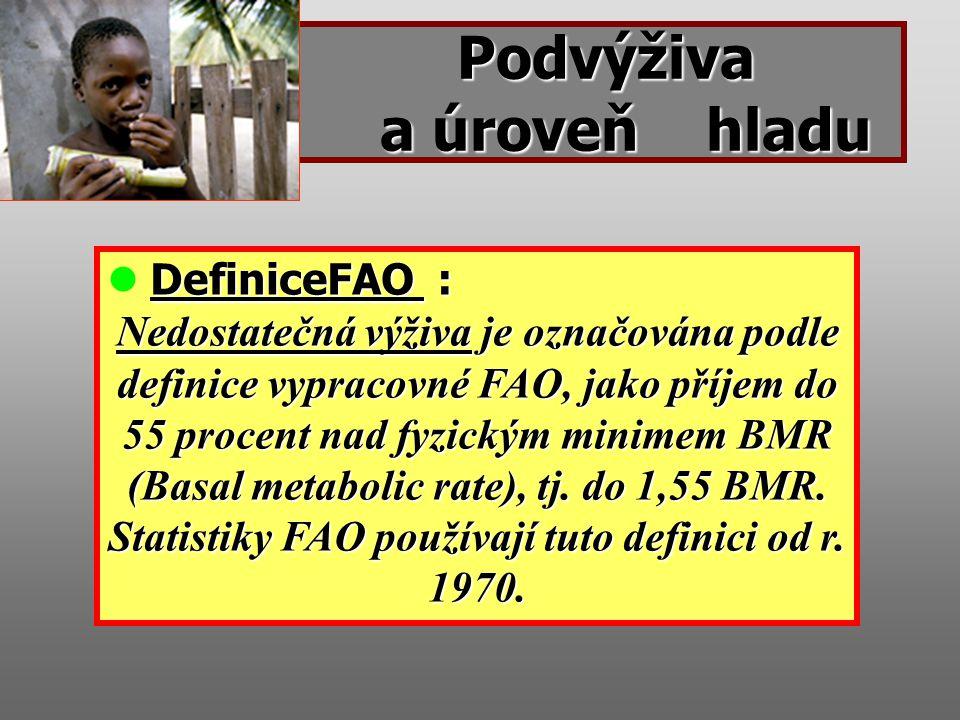 Podvýživa a úroveň hladu Podvýživa a úroveň hladu DefiniceFAO : Nedostatečná výživa je označována podle definice vypracovné FAO, jako příjem do 55 procent nad fyzickým minimem BMR (Basal metabolic rate), tj.