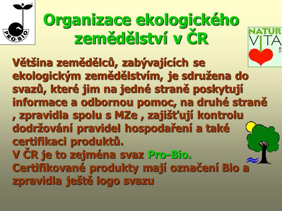 Organizace ekologického zemědělství v ČR Většina zemědělců, zabývajících se ekologickým zemědělstvím, je sdružena do svazů, které jim na jedné straně poskytují informace a odbornou pomoc, na druhé straně, zpravidla spolu s MZe, zajišťují kontrolu dodržování pravidel hospodaření a také certifikaci produktů.