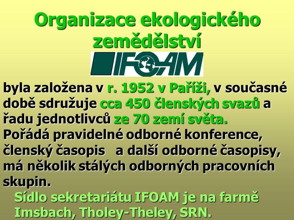 Organizace ekologického zemědělství byla založena v r.