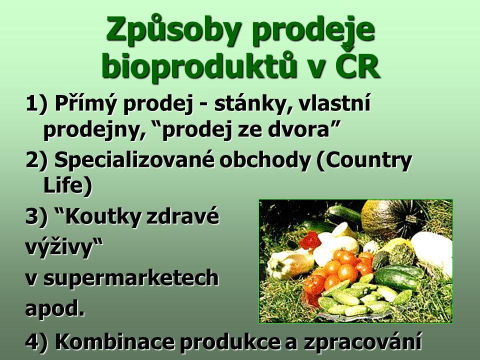 Způsoby prodeje bioproduktů v ČR 1) Přímý prodej - stánky, vlastní prodejny, prodej ze dvora 2) Specializované obchody (Country Life) 3) Koutky zdravé výživy v supermarketech apod.