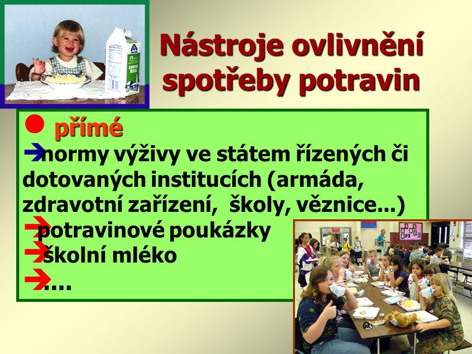 Nástroje ovlivnění spotřeby potravin přímé  normy výživy ve státem řízených či dotovaných institucích (armáda, zdravotní zařízení, školy, věznice...) è potravinové poukázky è školní mléko è....