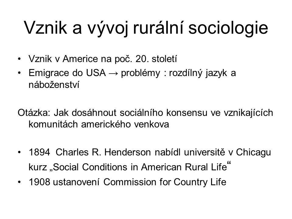 Rurální sociologie v Evropě V Evropě na venkově jiné problémy – tradiční vesnice oproti americkým rozptýleným farmám Otázka: Jak zabránit zaostávání venkova při současném zachování sociální identity.