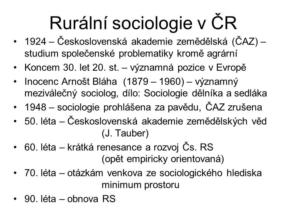 Rurální sociologie v ČR 1924 – Československá akademie zemědělská (ČAZ) – studium společenské problematiky kromě agrární Koncem 30.