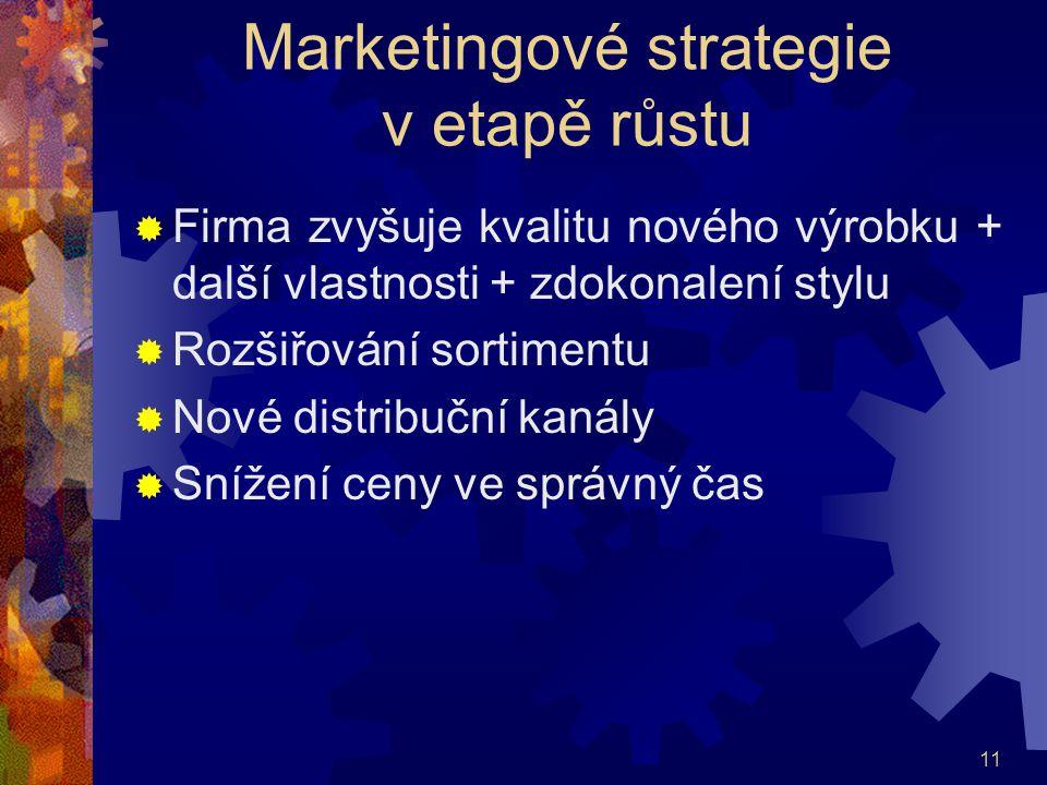 11 Marketingové strategie v etapě růstu  Firma zvyšuje kvalitu nového výrobku + další vlastnosti + zdokonalení stylu  Rozšiřování sortimentu  Nové