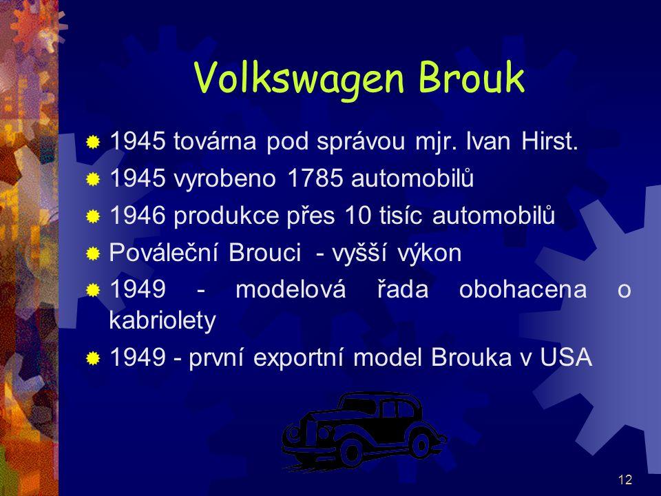 12 Volkswagen Brouk  1945 továrna pod správou mjr. Ivan Hirst.  1945 vyrobeno 1785 automobilů  1946 produkce přes 10 tisíc automobilů  Pováleční B