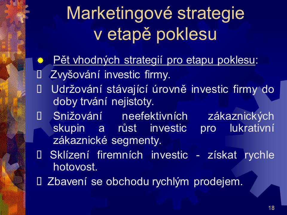 18 Marketingové strategie v etapě poklesu  Pět vhodných strategií pro etapu poklesu:  Zvyšování investic firmy.  Udržování stávající úrovně investi