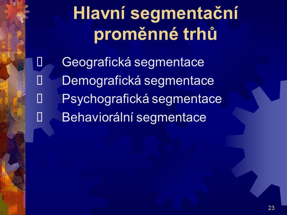 23 Hlavní segmentační proměnné trhů  Geografická segmentace  Demografická segmentace  Psychografická segmentace  Behaviorální segmentace