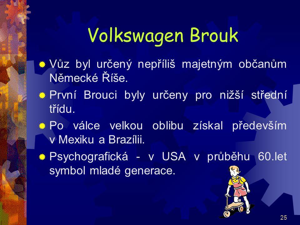 25 Volkswagen Brouk  Vůz byl určený nepříliš majetným občanům Německé Říše.  První Brouci byly určeny pro nižší střední třídu.  Po válce velkou obl