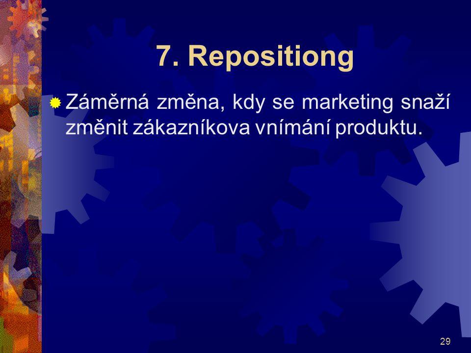29 7. Repositiong  Záměrná změna, kdy se marketing snaží změnit zákazníkova vnímání produktu.