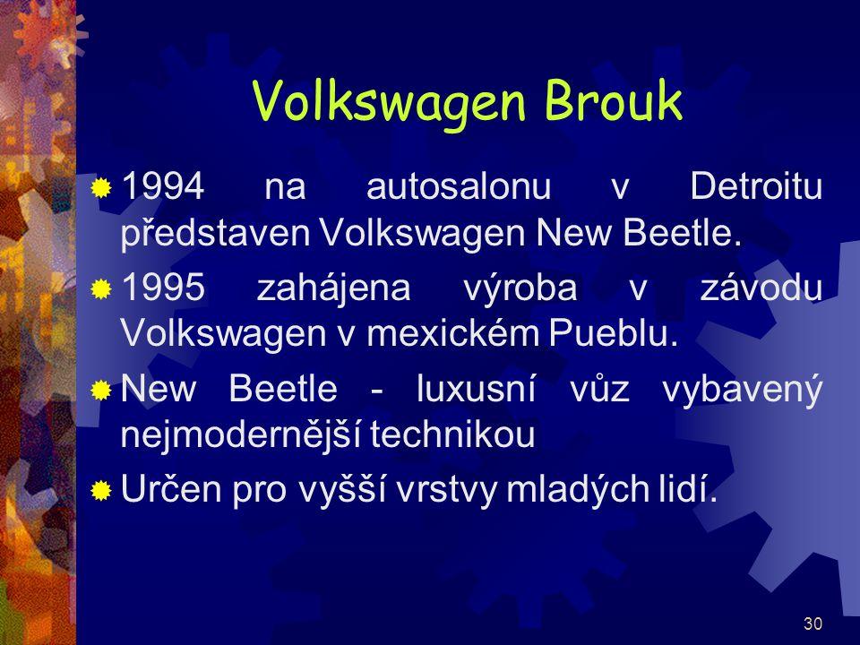 30 Volkswagen Brouk  1994 na autosalonu v Detroitu představen Volkswagen New Beetle.  1995 zahájena výroba v závodu Volkswagen v mexickém Pueblu. 