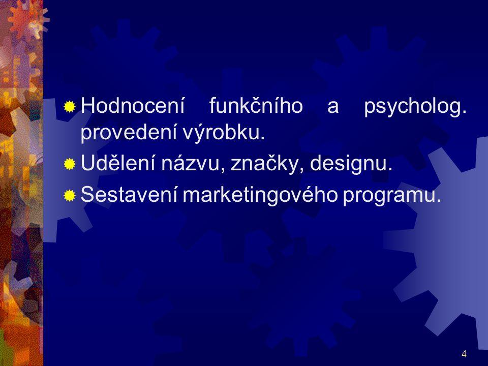 4  Hodnocení funkčního a psycholog. provedení výrobku.  Udělení názvu, značky, designu.  Sestavení marketingového programu.