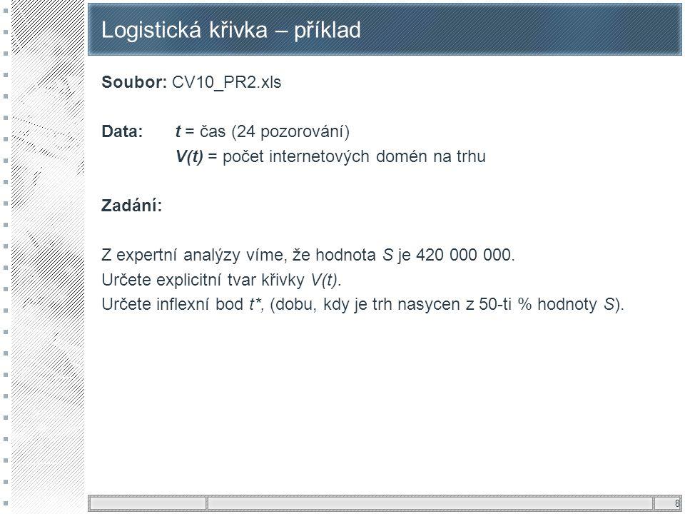 8 Logistická křivka – příklad Soubor: CV10_PR2.xls Data: t = čas (24 pozorování) V(t) = počet internetových domén na trhu Zadání: Z expertní analýzy v