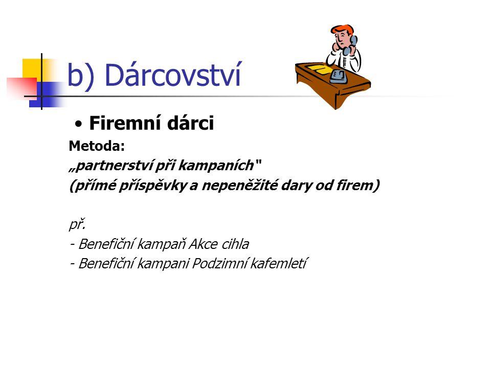"""b) Dárcovství Firemní dárci Metoda: """"partnerství při kampaních (přímé příspěvky a nepeněžité dary od firem) př."""