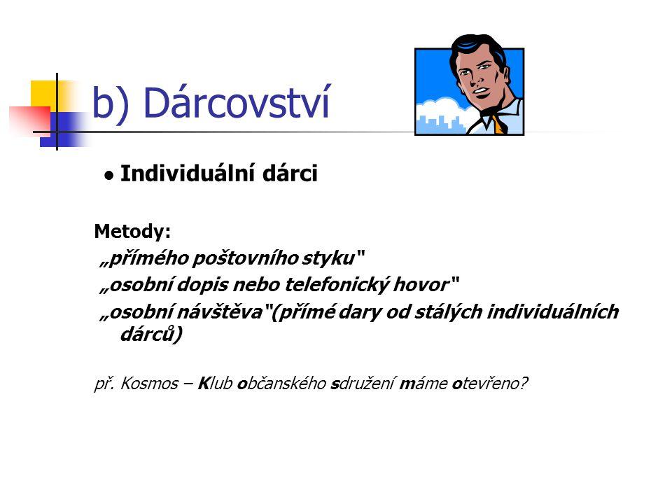 """b) Dárcovství Individuální dárci Metody: """"přímého poštovního styku """"osobní dopis nebo telefonický hovor """"osobní návštěva (přímé dary od stálých individuálních dárců) př."""