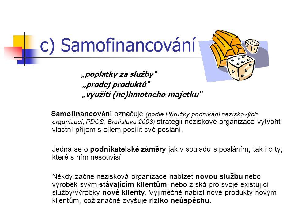 """c) Samofinancování """"poplatky za služby """"prodej produktů """"využití (ne)hmotného majetku Samofinancování označuje (podle Příručky podnikání neziskových organizací, PDCS, Bratislava 2003) strategii neziskové organizace vytvořit vlastní příjem s cílem posílit své poslání."""