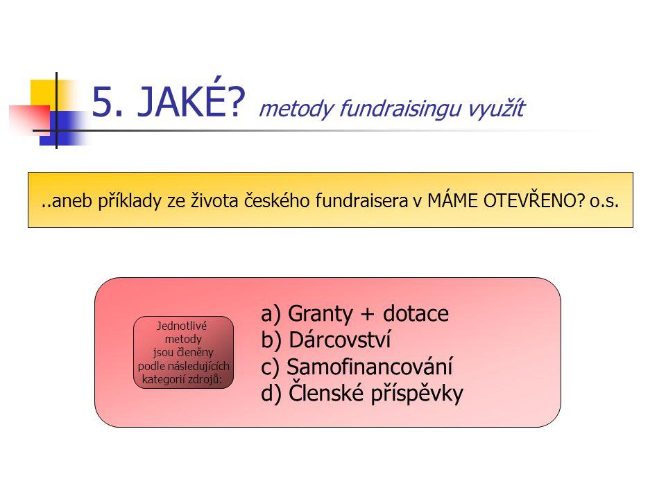 5. JAKÉ? metody fundraisingu využít..aneb příklady ze života českého fundraisera v MÁME OTEVŘENO? o.s. a) Granty + dotace b) Dárcovství c) Samofinanco