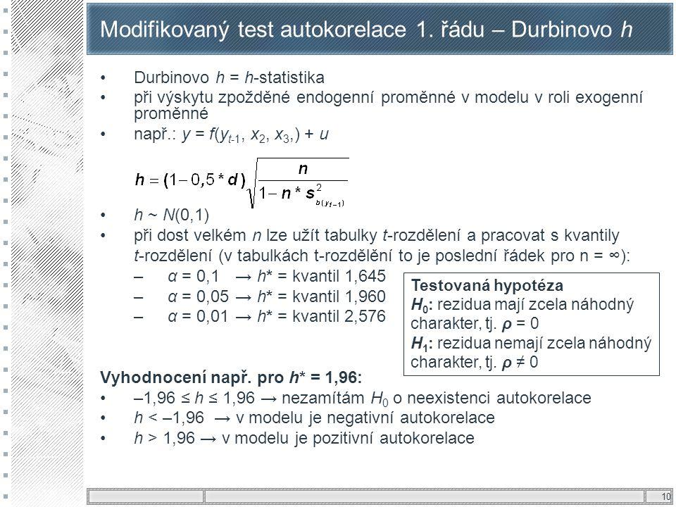 10 Modifikovaný test autokorelace 1. řádu – Durbinovo h Durbinovo h = h-statistika při výskytu zpožděné endogenní proměnné v modelu v roli exogenní pr