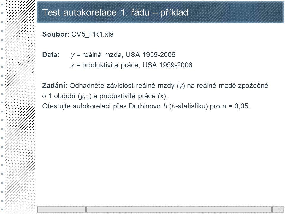 11 Test autokorelace 1. řádu – příklad Soubor: CV5_PR1.xls Data:y = reálná mzda, USA 1959-2006 x = produktivita práce, USA 1959-2006 Zadání: Odhadněte