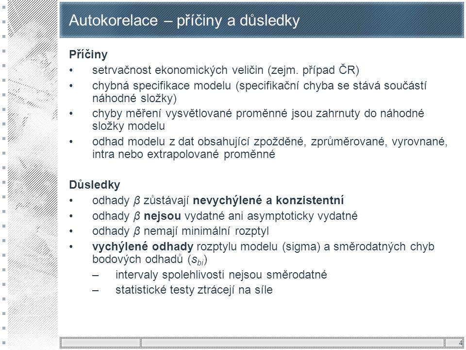 4 Autokorelace – příčiny a důsledky Příčiny setrvačnost ekonomických veličin (zejm. případ ČR) chybná specifikace modelu (specifikační chyba se stává