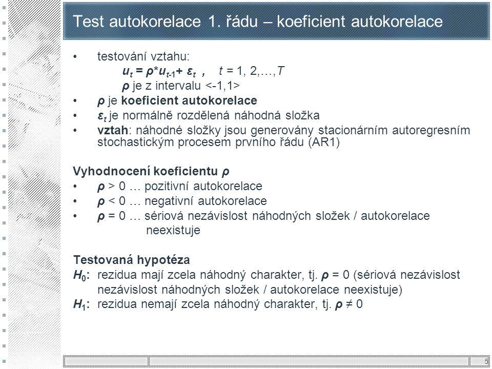 5 Test autokorelace 1. řádu – koeficient autokorelace testování vztahu: u t = ρ*u t-1 + ε t, t = 1, 2,…,T ρ je z intervalu ρ je koeficient autokorelac